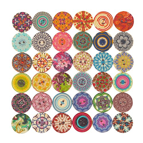 Bulk Lots|Assorted Random| Natural Wood Wooden 200-pack 20mm Flower Buttons for Craft Sewing