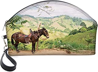 Half Moon Cosmetic Beauty Bag,A Donkey with Lush Green Hills in Rural Colombia Mountains Landscape Illustration for Women & Girls School Travel Office