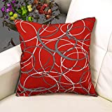 TAOSON Geometric Irregular lines Cotton Blend Canvas indoor/outdoor Bed Sofa Pillow Case Pillow Cover Cushion Cover (18'x18'(45x45cm), Red)