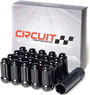 Circuit Performance 14x1.5 Black Closed End 6 Spline Security Acorn Lug Nuts Cone Seat Forged Steel (20 Pieces + Tool)