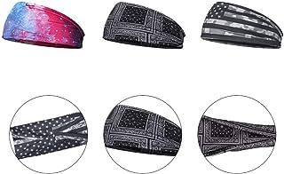 SOLUSTRE 3pcs Wide Women Headbands Bohemia Headbands Elastic Head Wrap Floral Headband Non-Slip Running Sports Yoga Sports...