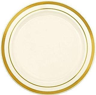 """Amscan Premium Round Plastic Plates, 6 1/4"""", Cream/Gold"""