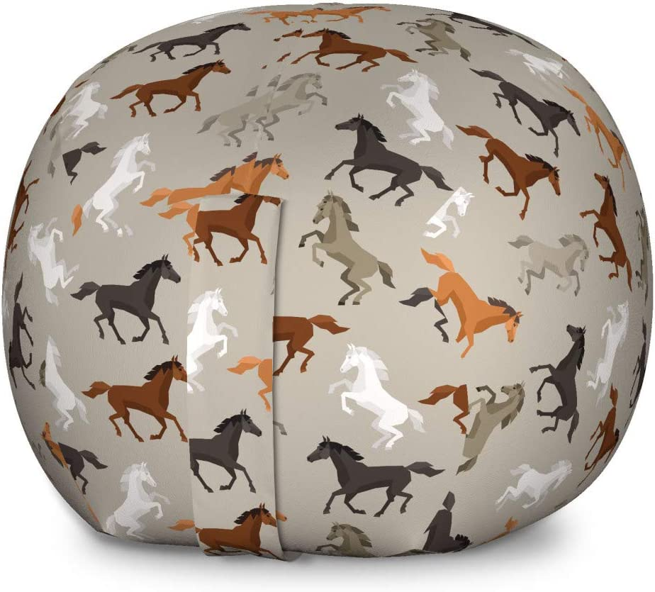 Ambesonne Horses Storage Toy Bag Chair, Abstract Stallions Simple Design Animals Galloping Curvet Illustration, Stuffed Animal Organizer Washable Bag, Large Size, Taupe Black