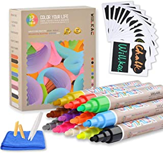 Erasable Liquid Chalk Markers, (12 Pack 6mm) Neon Chalkboard Markers Erasable Pens for Bistro Boards, Blackboard, Glass, Cleaning Cloth, 24 Chalkboard Labels, Reversible Bullet and Chisel Tip