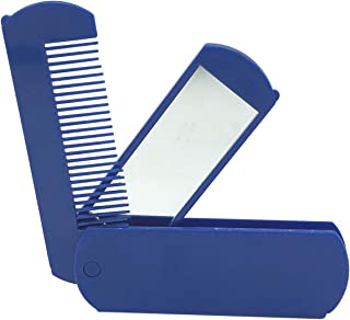 SODIAL Folding Hair Brush Portable Travel Folding Anti-Static Hair Brush With Mirror Compact Pocket Size Comb Hair Salon Style