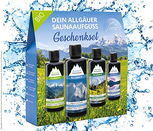 Saunaaufguss-Set mit 100% BIO-Sauna-Öle 4x100ml - ✓ Allgäuer Erfrischung ✓ Allgäuer Naturluft...