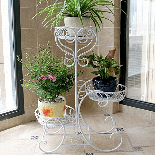 QFF Matériau en fer de style européen Trois couches Style de plancher Étagère en pot de fleurs, jardin Chambre Balcon Salle de séjour Corridor Porte-fleurs(52*28*75cm) ( Couleur : Blanc , taille : 52*28*75cm )