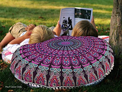 ROYALA 32 Inch Mandala Floor Pillow Cushion Meditation Seating Ottoman Throw Cover Hippie Decorative Round Bohemian Pouf Lavender Large Shams Outdoor Boho Flower Decor Designs