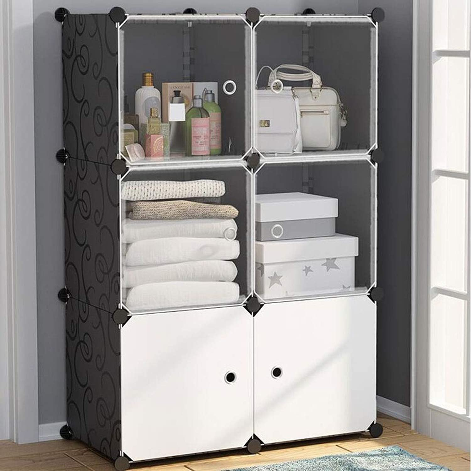 Portable Clothes Closet Wardrobe Bedroom Armoire Dresser Cube Storage Organizer White, (Size   L75W37H111CM)