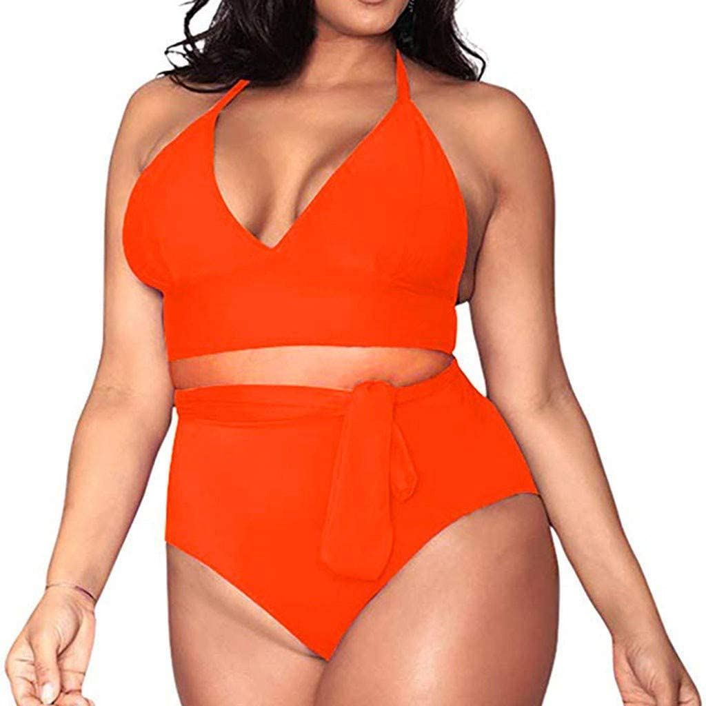 Two Piece Swimsuit for Women High Waist Tummy Control Plus Size Bathing Suit Sexy V Neck Halter Swimdress