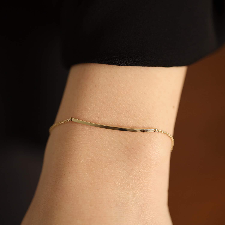 Bar Bracelet Thin Philadelphia Mall Gold Solid famous 14K S