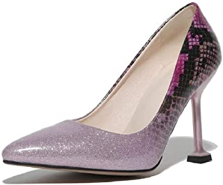 Gradient Color Patent Leather High Heels For Banquet Wedding Dress Daily (Color : Pink, Size : 47)