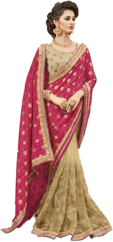 EthnicWear Trendy Beautiful Beige Silk Party Festival Wear Indian Embroidery Lace Zari Work Sari Saree