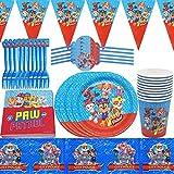 BESLIME Juego de accesorios de fiesta de 62 piezas para niños, decoración de cumpleaños de Paw Dog Patrol, platos, tazas, servilletas manteles, para fiestas y cumpleaños infantiles