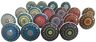 JGARTS Mix Colorful Rare Vinatge Look Mixed Round Flower Shape Ceramic Pottery Door knobs Cabinet Handle Cupboard Pulls Drawer Puller knob (10)