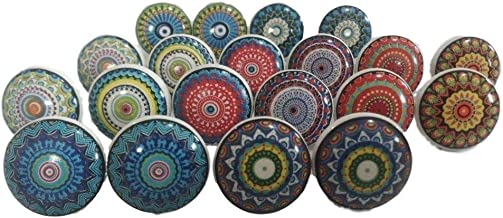 JGARTS 20 Mix Colorful Rare Vinatge Look Mixed Round Flower Shape Ceramic Pottery Door knobs Cabinet Handle Cupboard Pulls...