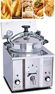 Electric Pressure Deep Fryer, Denshine Stainless Steel Countertop Pressure Fryer with Timer & Temperature Control 16L Commercial Chicken Fish Fries Meat Vegetable Frying Machine Stove - 110V