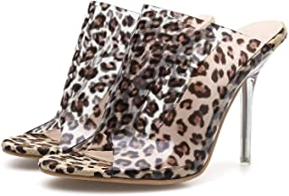Youth Summer Word Transparent PVC Leopard Stiletto Sexy Sandals And Slippers Waterproof Platform High Heel Fish Mouth Shoes Round Head Sandals Women's Shoes Rainbow (Color : Clear, Size : US6.5)