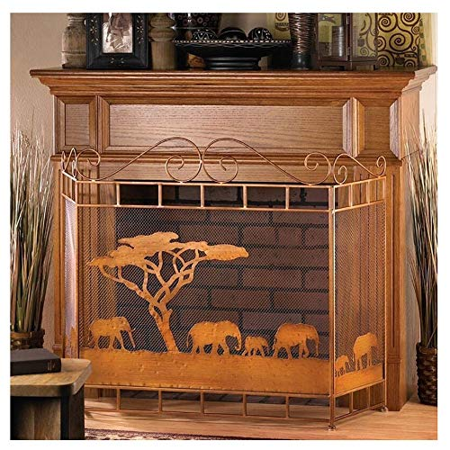 ZJM Fireplace Spark Protection Previous Fire Screen with Elephant Walki Design, Functional Light Brown Fireplace Screens for Hot Slow Combustion Stove