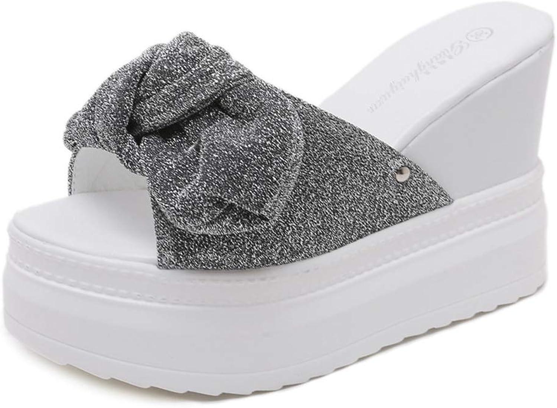 Btrada Women Summer Wedges Slipper Butterfly Knot Mules shoes Casual Platform Heels Slides Glitter Sandal