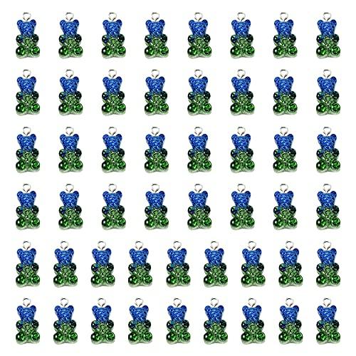 Cebolla verde en polvo Resina Oso de dibujos animados Color caramelo Accesorios colgantes Caja transparente para teléfono móvil Material de relleno Colgantes Fabricación de joyas