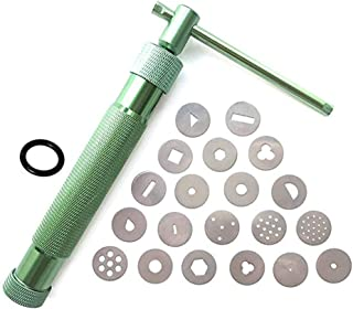 EYouzpin Stainless Steel Handheld Rotary Mud Extruder, Fondant Sugar Paste Cake Decorating Craft Extruder Gun,Soft Clay Polymer Extruder Tool Set, with 20 Pcs Nozzle