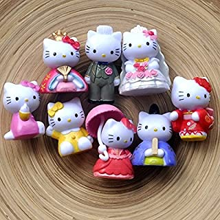 Lovetosell123 8pcs/lot 5cm Hello Kitty Wedding Decoration Action Figures Toys Kids Gifts Doll Wedding Gifts Hello Kitty