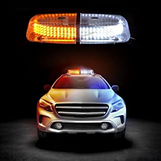Zento Deals Dual Color Amber & White 240-LED Snow Plow Safety Strobe Light Warning Emergency 7-Patterns Car Truck Construction Car Vehicle Safety W/Magnetic Base