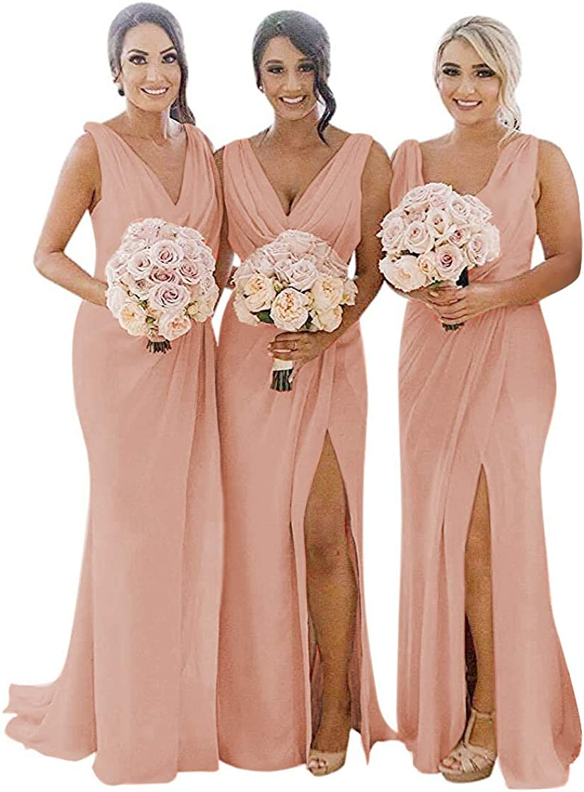 Manufacturer OFFicial shop MARSEN Ruched Chiffon Philadelphia Mall Bridesmaid Dresses for Long V Wedding Slit