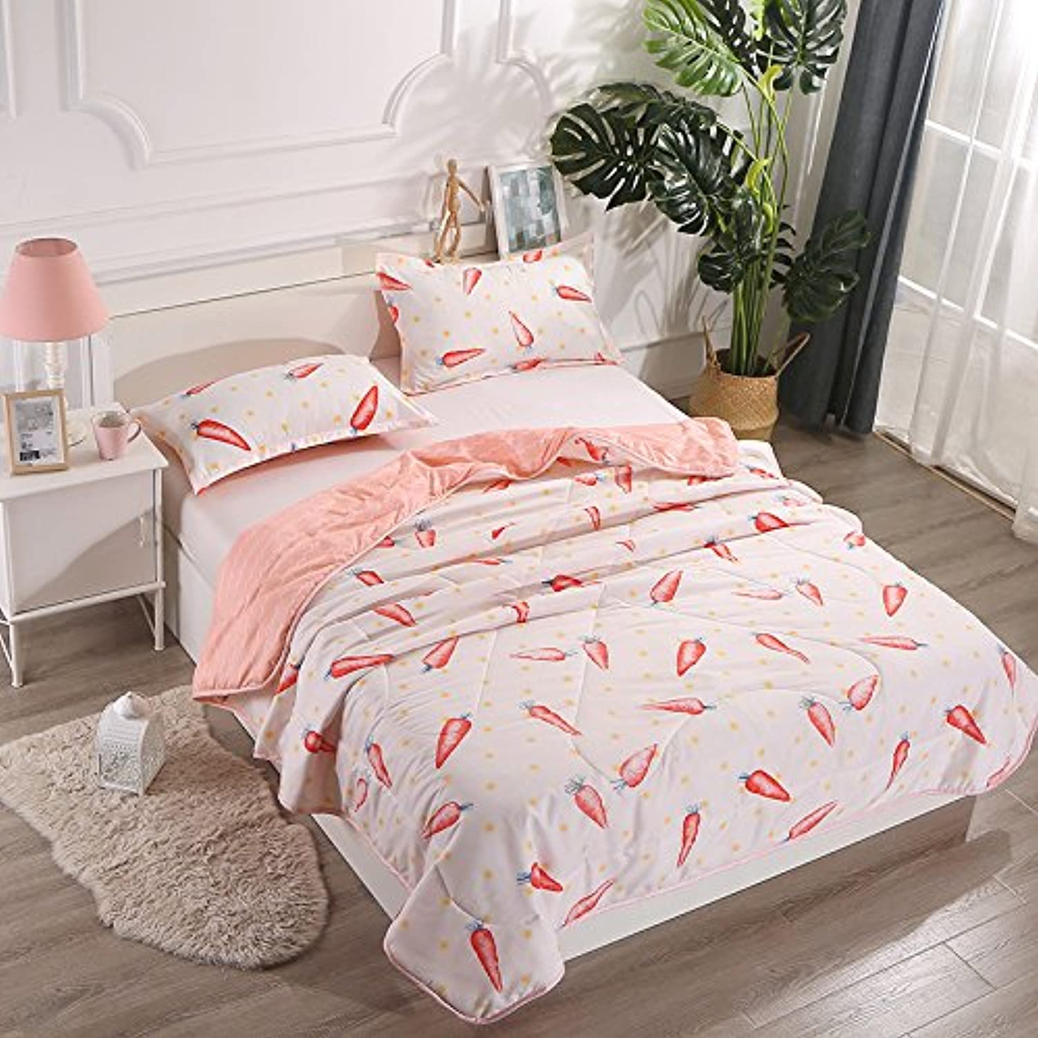 KFZ Summer Quilt Comforter Bed Set No Pillow Covers CA Twin Full Queen Princess Simple Stye Strawberry Leaf Plane bluee Modern Pink Design Kids One Piece (Radish, Pink, Full,70 x86 )