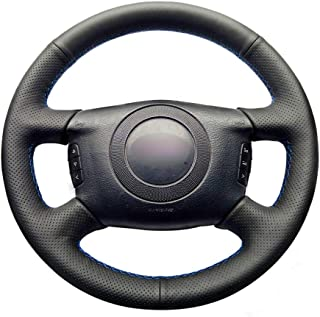 SLONGK Cubierta del Volante del Coche de Costura Manual, para Audi A4 A6 1999-2004 A8 A8 L Allroad 2001-2005 S4 2004-2006