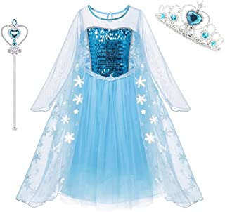 Princess Costumes Sequins Dress Up Party Outfit for Toddler Girls