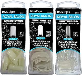 beYou 3PACK Royal Salon 40 Professional Artificial Fake False Nail Tips, Nail Salon Nail Shop (Natural, White, Clear) (Royal Salon)
