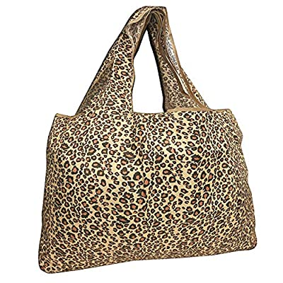 allydrew Large Foldable Tote Nylon Reusable Grocery Bag, Leopard Print