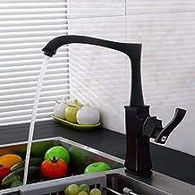 European Kitchen, Black Water Faucet, Antique, Cold and Hot Faucet, Square Swivel Faucet,A