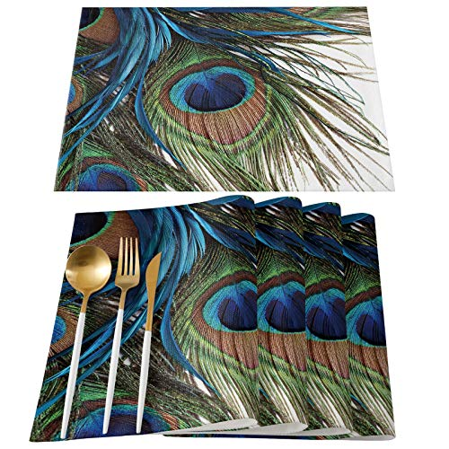 ABCrazy Place Mats Peacock Feather Design Heat Insulation Stain Resistant Table Mats Colorful Non-Slip Washable Placemats Table for Dinner Parties Everyday Use Indoor Decor - Set of 6