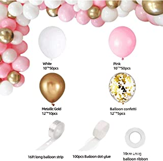 CHENX Pink Balloon Arch Garland Kit - 115 Pcs White Pink Gold and Gold Confetti Latex Balloons for Baby Shower Wedding Bir...