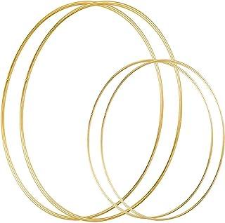 DILNAZ ART 4 Pack (12 & 18 Inch) Large Metal Floral Hoop Wreath Macrame Gold Hoop Rings for Making Christmas Wreath, Weddi...