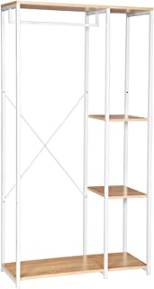 comprar comparacion WOLTU Perchero de Pie con Estante Zapatero Perchero Burro para Colgador Ropa Metal y Madera, 90 x 40 x 167 cm SR0047whe