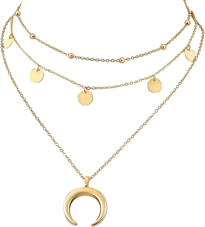 Wowanoo Layered Chain Choker Necklace Moon Rhinestone Pendant Chain Jewelry for Girls Women