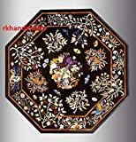 Black Octagon Marble Conference Table Top Utility Table Reception Table Inlaid Pietra Dura Art with Floral Pattern Handmade from India 60 Inches