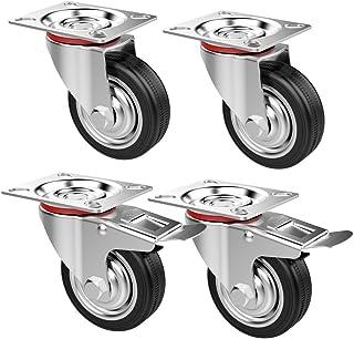 Bricolage MultiWare Lot de 4 Roulettes Pivotante Caoutchouc Pour Chariot 200kg Quincaillerie