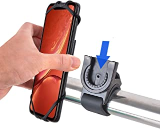 Bike Motorcycle Phone Mount Detachable 360° Rotation with Adjustable Silicone Bicycle Holder Compatible iPhone 11 Pro Max/11 Pro/11/XS/XS Max/XR/8/7, Samsung S20/S10 Plus/S10/S10e