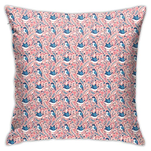 DHNKW Throw Pillow Case Cushion Cover,Spring Garden Beauty with Flowers and Swallow Bird Berry Branches ,18x18 Inches
