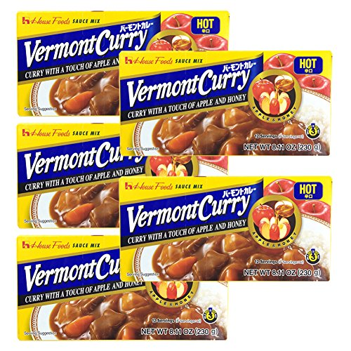 5 Packs  House Foods Vermont Curry Hot 811 Oz 230g