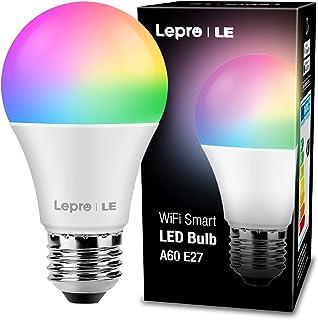 LE Smart WLAN ledlampen E27 gloeilamp dimbaar 8,5W 806LM, intelligente multicolor meerkleurige lamp 2700-6500K, compatibel...