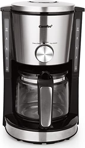 Comfee 10-Cup Coffee Maker, Eletric Coffee Machine, Strength Control, 1.25L Glass Carafe with Keep Hot Carafe Base Plate