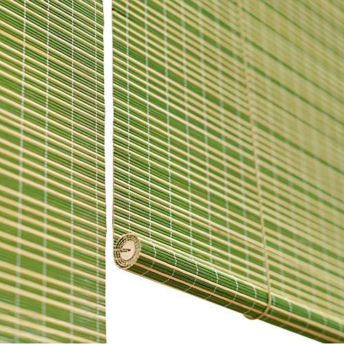 Persiana enrollable Cortina de Bambu- Verde Bambú para Ventanas Sombras Plisadas, Estores para Ventana Tipo Gancho para Porche/Corte, Moho Impermeable (Tamaño : 60x200cm)