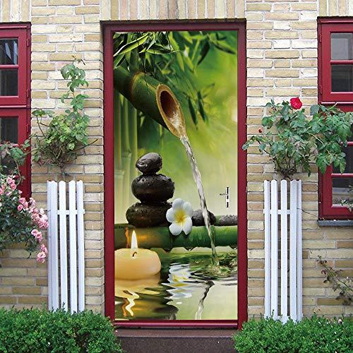 ZCFGG 3D Adesivi Per Porte Fiore Murale Autoadesivo Verde candela bambù acqua corrente 90 x 200cm Buccia e Bastone Vinile Rimovibile Porta Decalcomanie per la Decorazione Domestica
