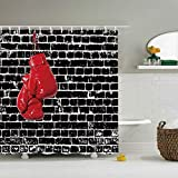 Red Boxing Gloves Bathroom Shower Curtain Ancient Black Brick Wall Art Design Element Mildew Proof Waterproof Polyester Fabric Curtain Set with Hooks 72'×72'